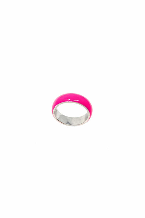 Neon Enamel Ring in Neon Pink