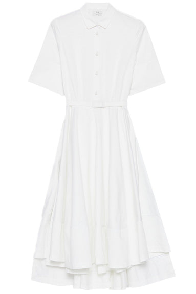 Sateen Short Sleeve Flared Dress in White