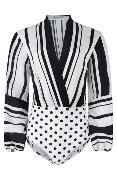 Hilda Top in Black/White Stripes