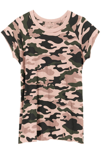 Short Sleeve Baseball Tee in Camouflage Dusty Pink