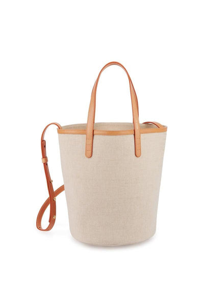 Mini Circle Bucket Bag in Beige