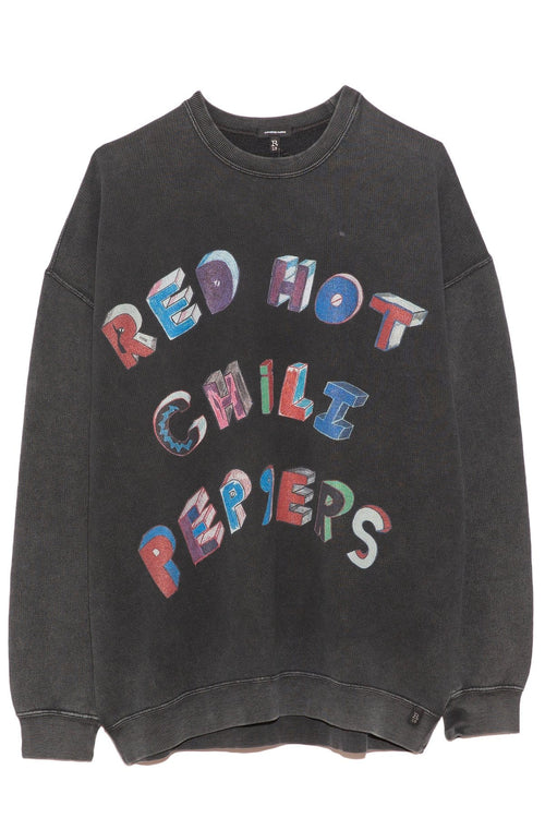 RHCP Flea Art Oversized Crewneck in Aged Black