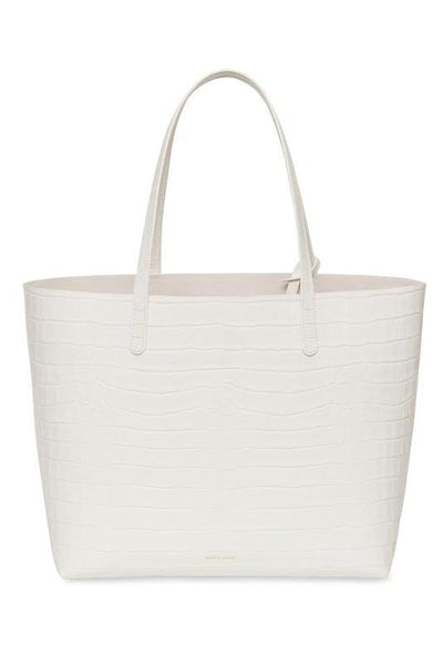 Croc Embossed Large Tote in White