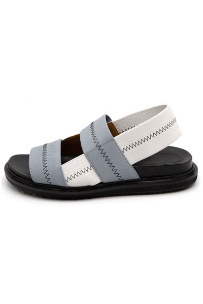 Fussbett Contrast Stitched Sandal in Moon/Lily White