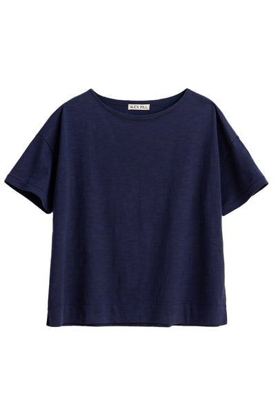 Slub Cotton Boxy Boatneck Tee in Dark Navy