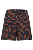 Graphic Leaves Shorts in Brown on Black Leaves
