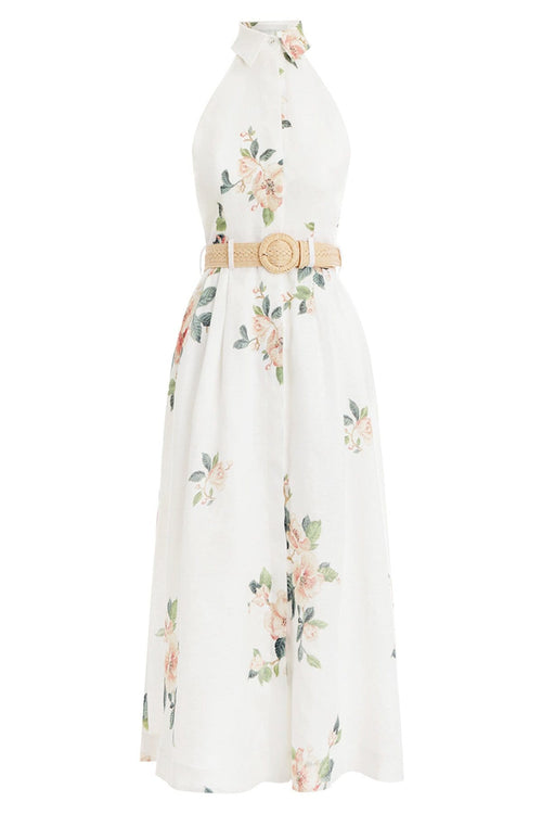 Kirra Halterneck Dress in Ivory Magnolia