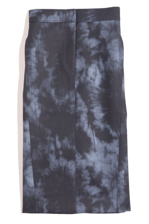 Rubberized Tie Dye Pencil Skirt in Navy Multi