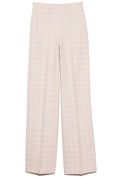 Windowpane Straight Pintuck Pant in Beige/White