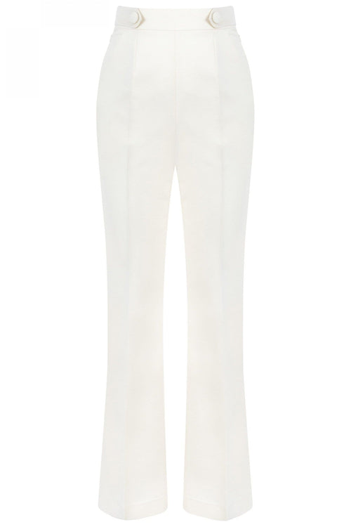 High Waist Slim Fit Trousers in Off White