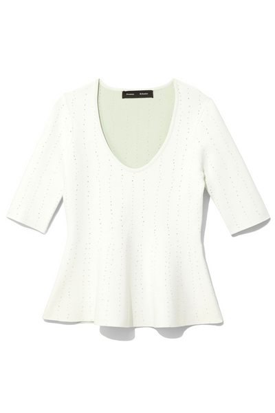 Pointelle Scoop Neck Sweater Top in Off White/Mint