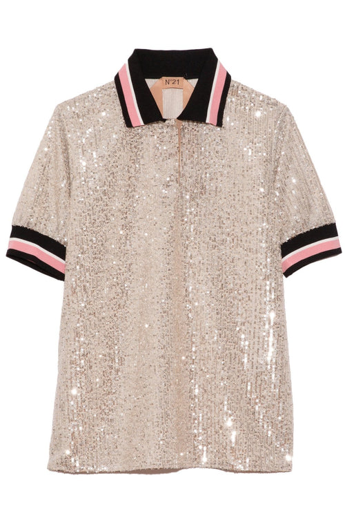 Sequin Polo Top in Silver