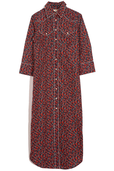 3/4 Sleeve Cowboy Dress in Navy Red Floral