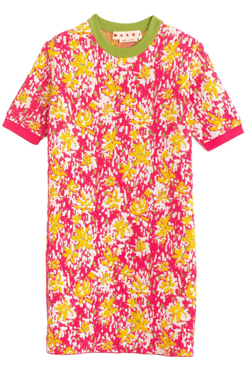 Short Sleeve Printed Shift Dress in Pink Clematis