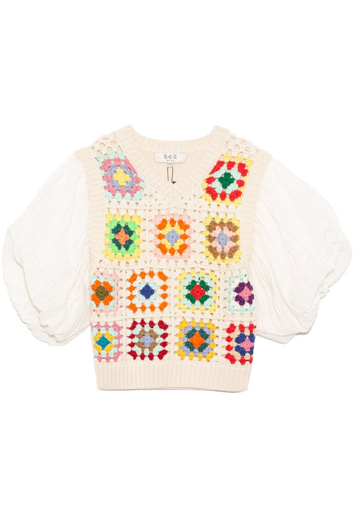 Gabriela Crochet 3/4 Sleeve Combo Top in Multi