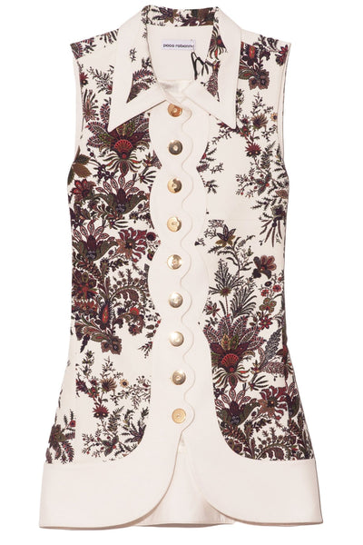 Floral Collared Sleeveless Blouse in Ivory Paisley