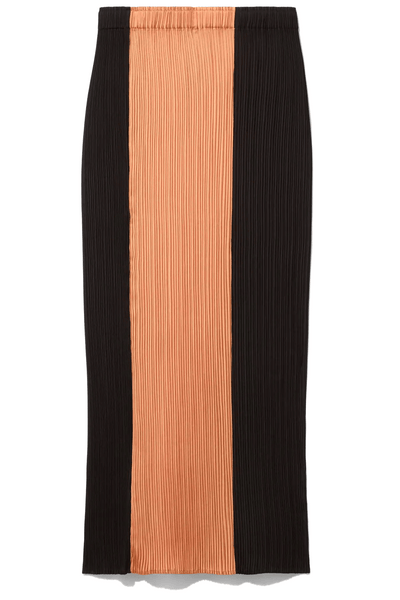 Plisse Slip Skirt in Cinnamon/Peach/Black