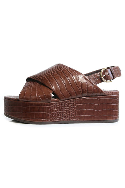Crossover Platform Sandal in Dark Brown