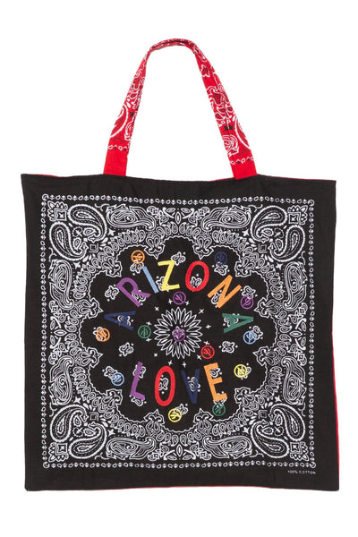Embroidered Beach Bag in Black/Red