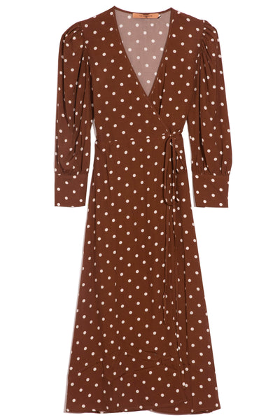 Deva Dress in Polka Dots Brown/Ivory