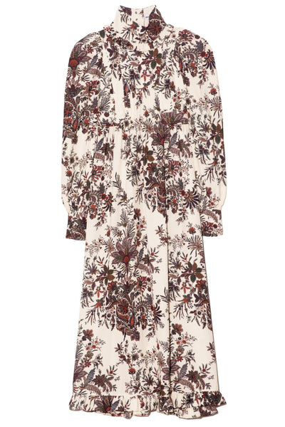 A-Line Long Sleeve Dress in Ivory Paisley