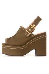 Canvas Platform Sandal in Dark Olive