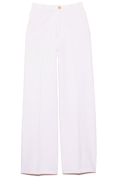 Cavalry Denim Wide Leg Pants in Bianco