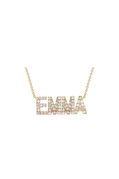 Block Diamond Custom Name Necklace in Yellow Gold