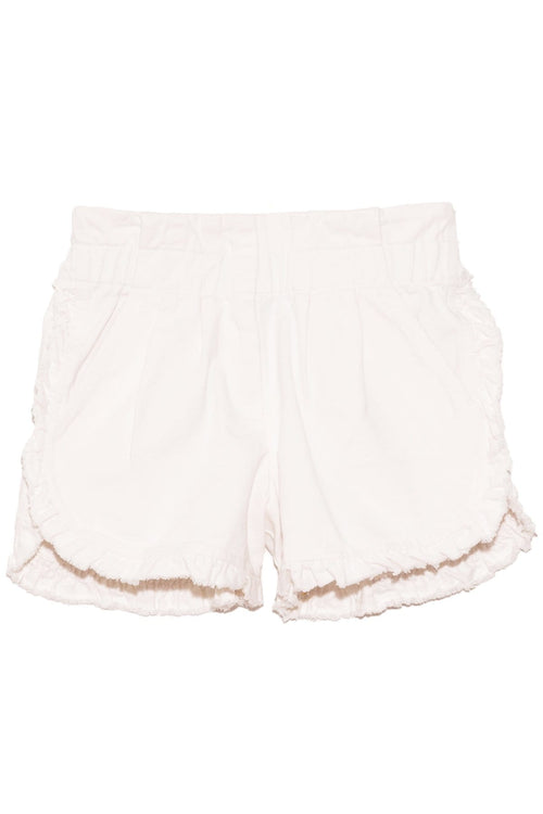 Neon Acid Denim Ruffle Shorts in White