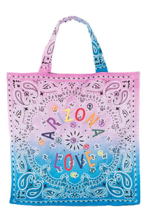 Embroidered Beach Bag in Pink/Tie Dye