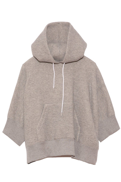 Sponge Sweat Half Sleeve Hoodie in Light Grey