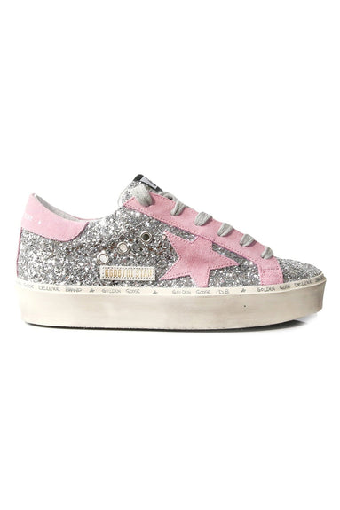Hi Star Sneakers in Silver Glitter/Pink Suede Star
