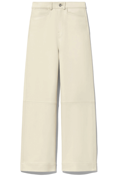Lightweight Leather Culottes in Ecru