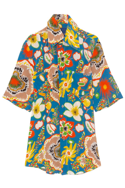 Bandera Short Sleeve Shirt in Blue Floral Print
