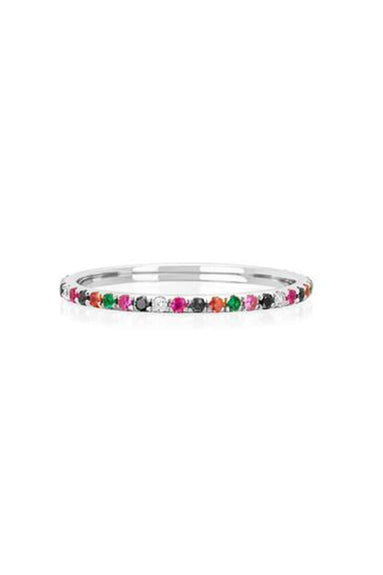 Diamond Rainbow Eternity Ring in White Gold