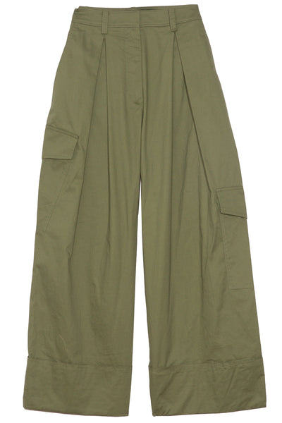 Featherweight Twill Pleated Cargo Pant in Olive