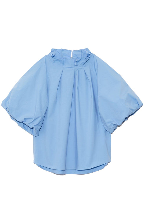 Pleated Collar Short Sleeve Top in Sky Blue