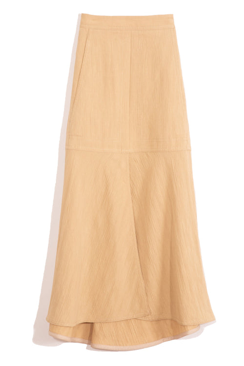 Viscose Plisse Front Slit Flared Skirt in Latte