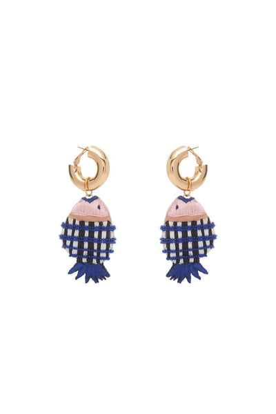Gingham Fish Hoop Earring in Blues