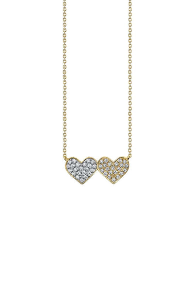 Medium Double Heart Necklace in Yellow Gold