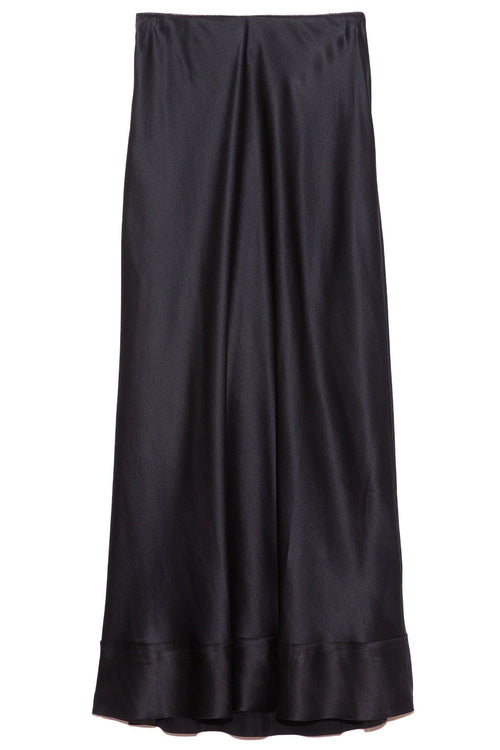 Stella Silk Satin Skirt in Midnight