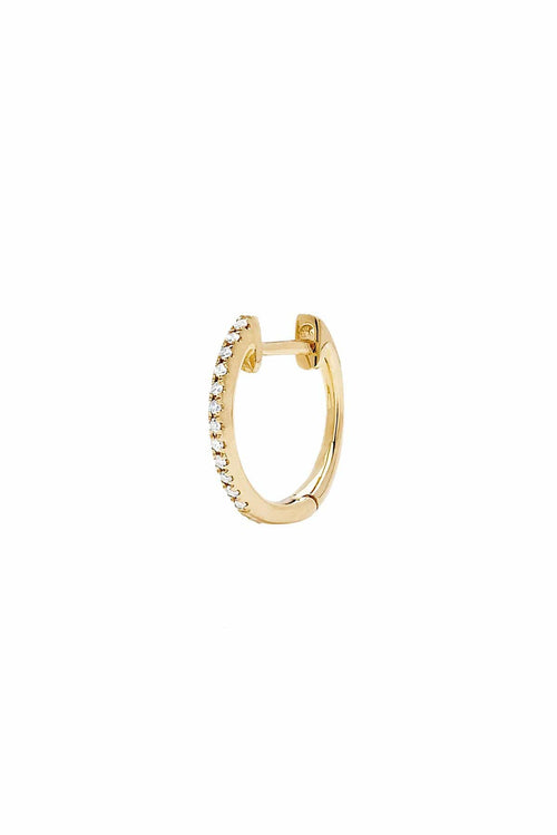 Single Diamond and Black Diamond Reversible Mini Huggie in Yellow Gold