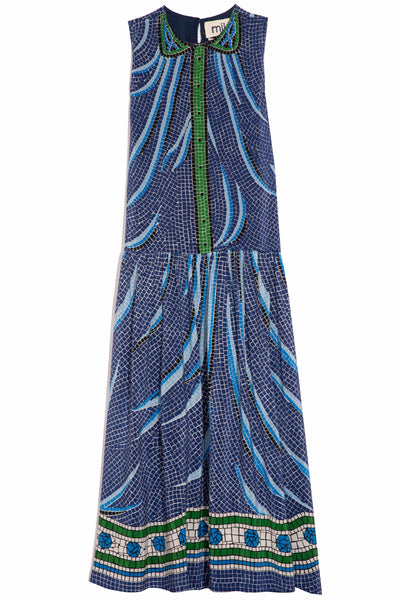 Screen Printed Silk Long Dress in Blue