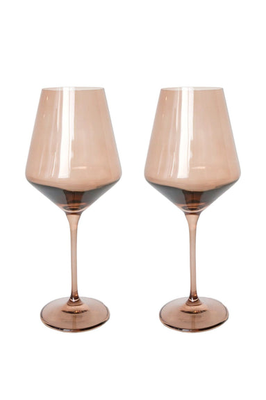 Colored Wine Stemware in Amber Smoke - Set of 2