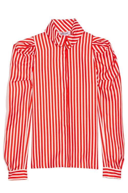 Striped Silk Shirt in Red Stripe