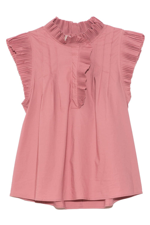 Karla Pleat Tank in Peony