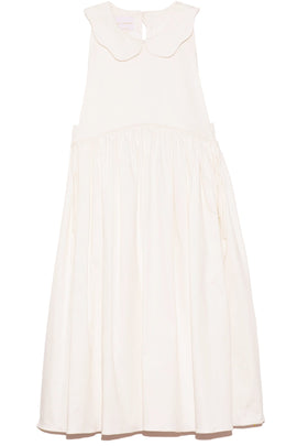 Aida Doll Neck Dress with Adjustable Straps in White Cotton