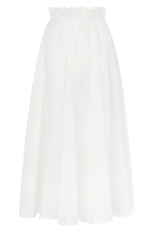 Pleated Dot Skirt in Pearl