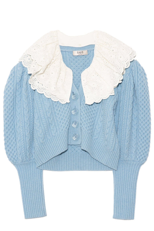 Melanie Cable Cropped Cardigan in Sky
