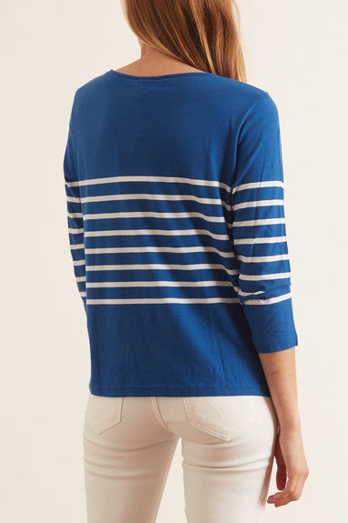 The Malibu Top in True Blue/White